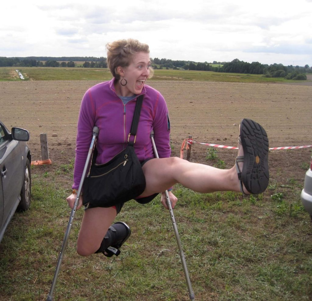 Ketti Wilhelm leaping around on her crutches at a music festival outside of Minsk, Belarus. ©KettiWilhelm2015