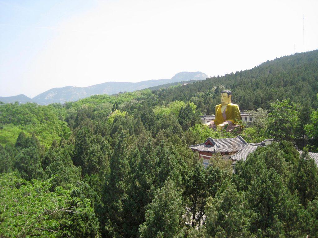 A golden Buddha statue peeking out the trees in Jinan, China. ©KettiWilhelm2014