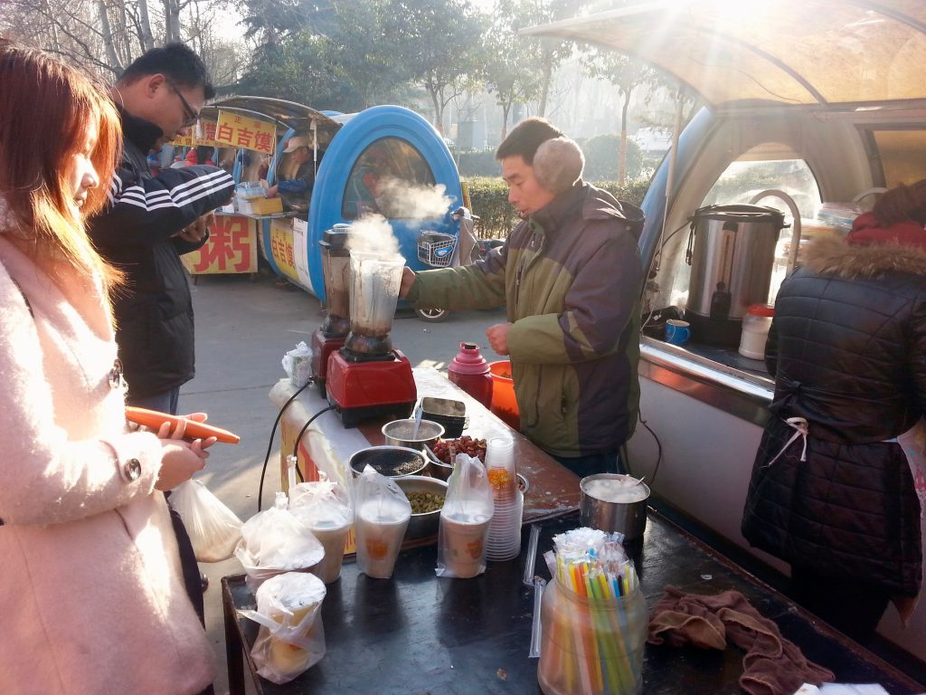 Including hot soybean shakes from a street food stall near my new home where I live as an expat in Jinan, China. ©KettiWilhelm2014