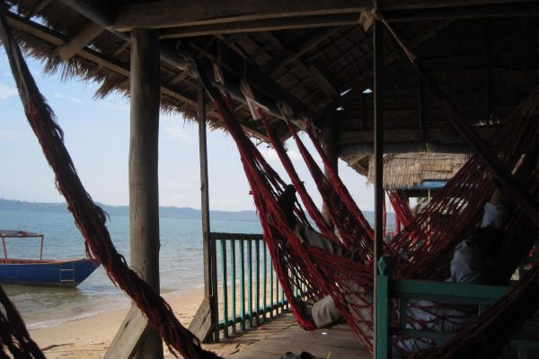 The hammocks on the beach in Cambodia, where I waited to get on my boat for some adventure travel. ©KettiWilhelm2015