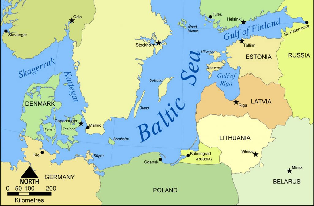 A map of the northern European Baltic countries I visited on crutches.