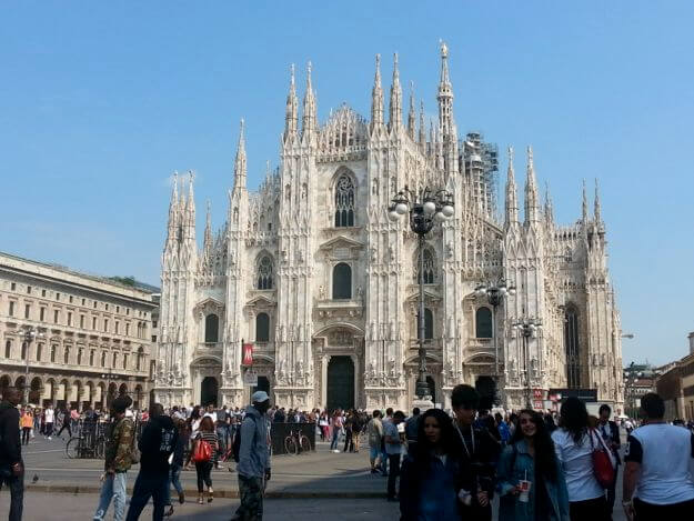 Milan's Duomo, which I hiked all over the roof of on crutches, on a sunny day. ©KettiWilhelm2015