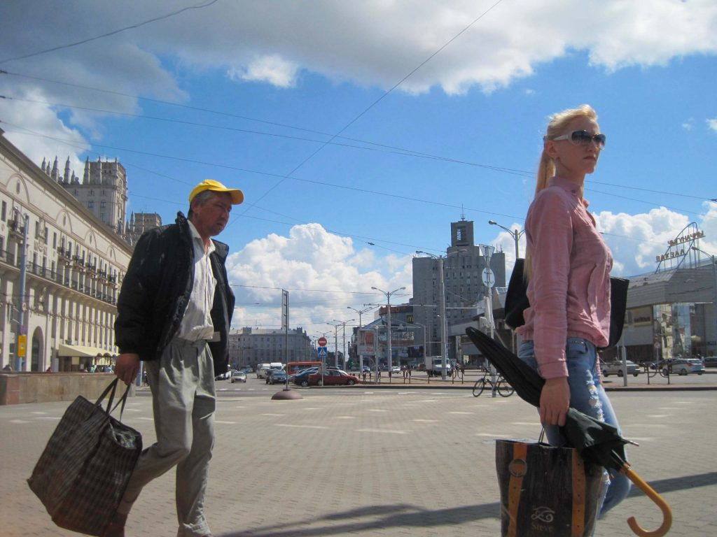 On the street in downtown Minsk, which was not the best place for traveling on crutches. ©KettiWilhelm2015