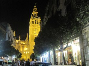 The cathedral of Sevilla, Spain, lit up and glowing at night. ©KettiWilhelm2015