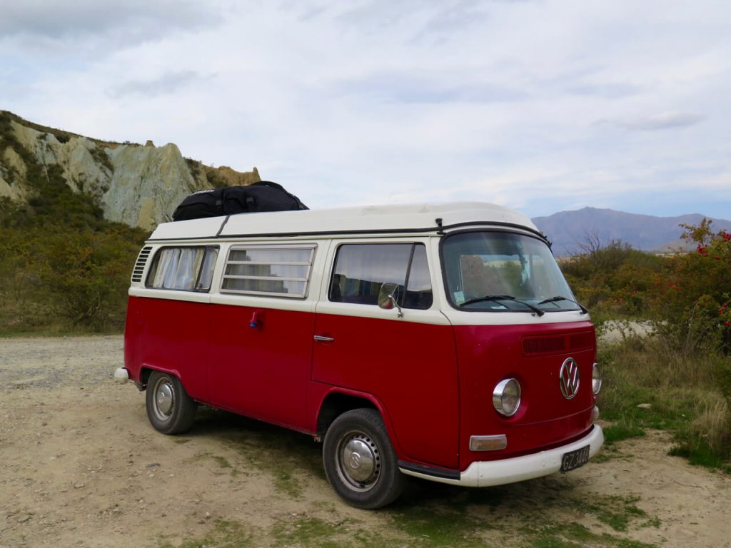The perfect red, vintage VW van that everyone wants to travel New Zealand in. ©KettiWilhelm2016
