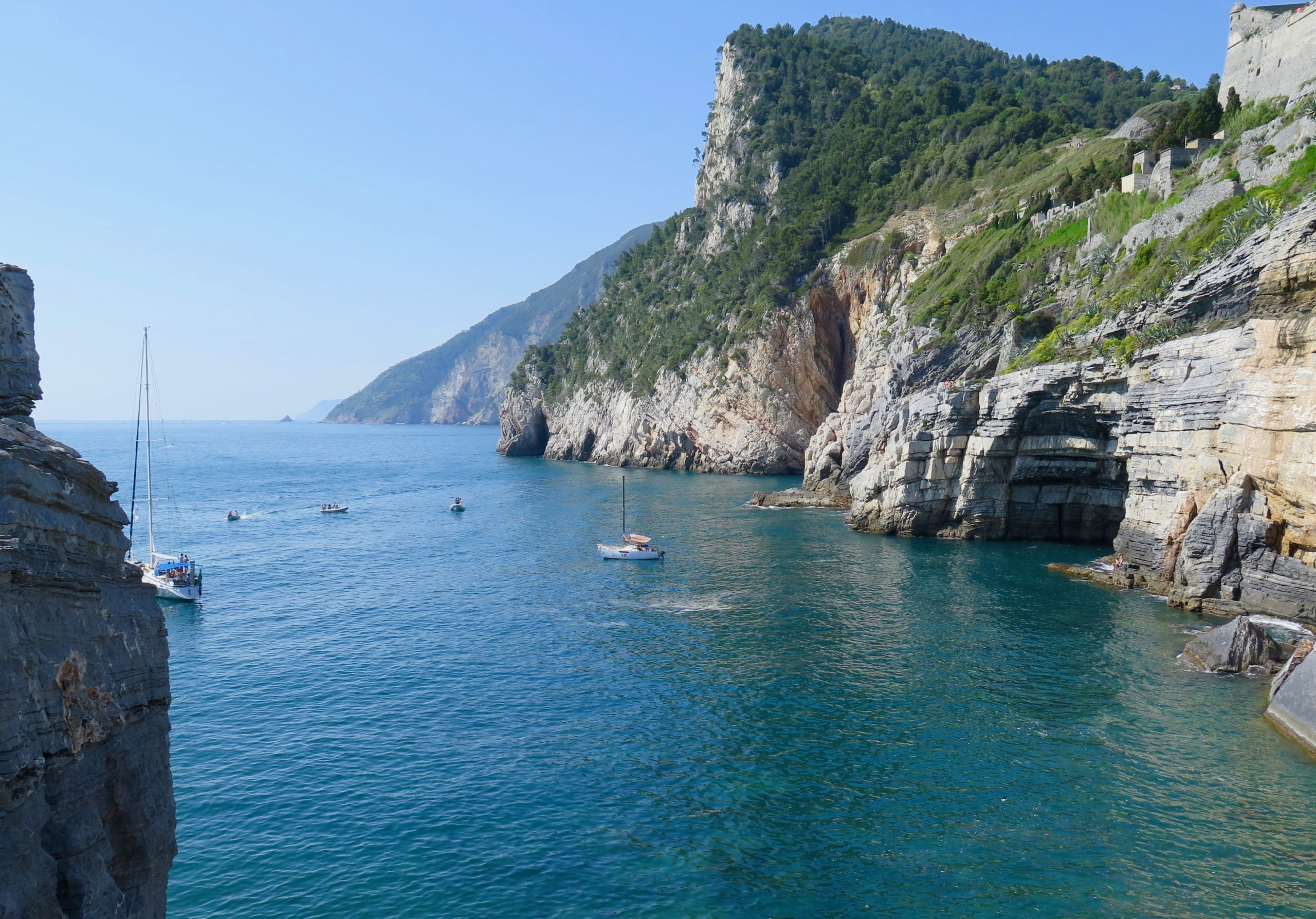 The turquoise Mediterranean Sea of Italy's Cinque Terre – one of the most popular vacation spots for Italy's Ferragosto holiday.