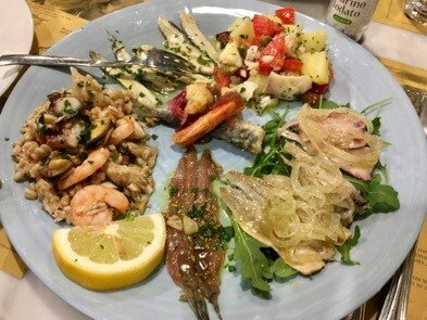 Mediterranean seafood antipasti at a restaurant in Liguria, Italy. ©KettiWilhelm2017