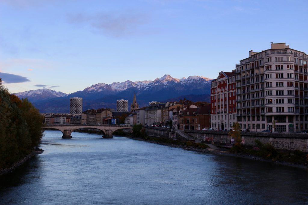 The Isère River in the city of Grenoble, France, with the Alps glowing in the background. ©KettiWilhelm2018