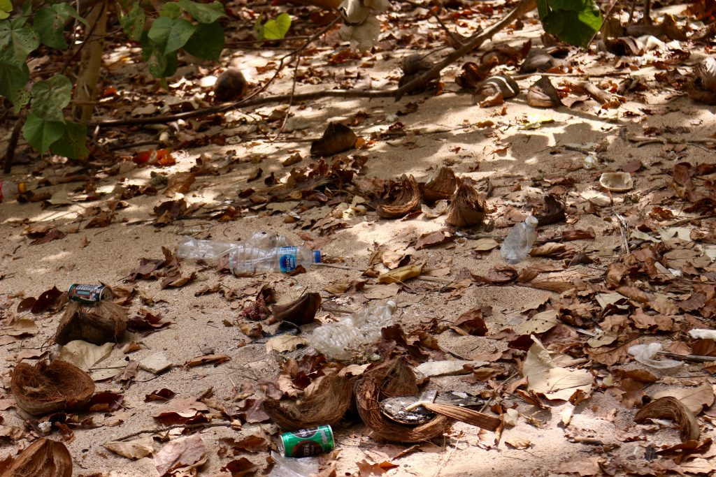 A dirty beach covered in plastic pollution near a resort area on the jungle island of Koh Libong, Thailand. ©KettiWilhelm2019