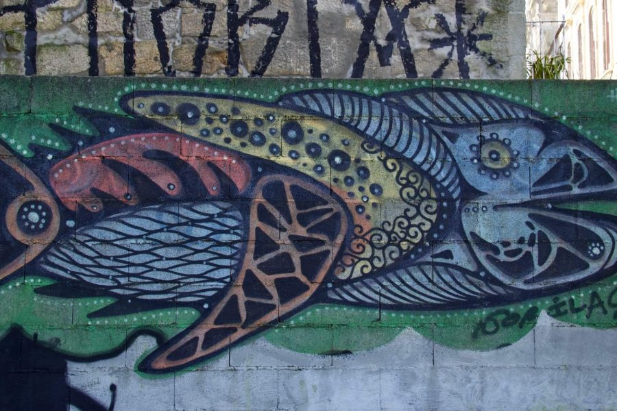 Street art spotted while Couchsurfing in Porto: an elaborate fish painted on a wall. ©KettiWilhelm2020