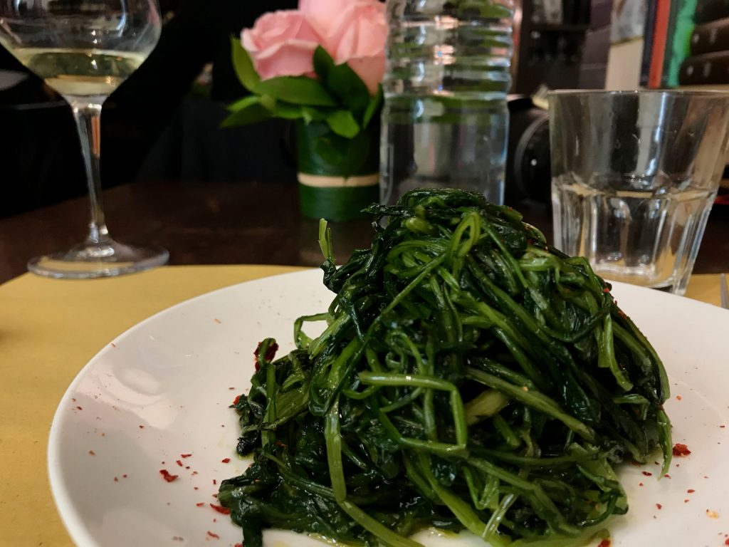 Part of how Italians stay thin is by eating vegetables, like this plate of sautéed greens – a contorno in Rome. ©KettiWilhelm2020