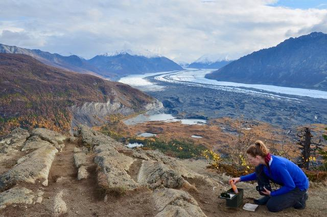The author of this travel blog on a hike in Alaska, with a glacier in the background.  ©KettiWilhelm2019
