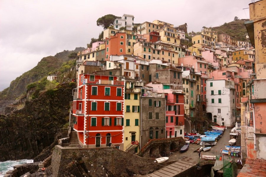 Riomaggiore, Cinque Terre, Liguria, Italy – still beautiful in the rain.