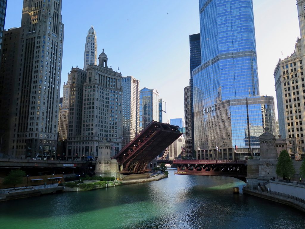 The Michigan Avenue bridge raised to stop people from joining the downtown Black Lives Matter protests on Saturday. ©KettiWilhelm2020