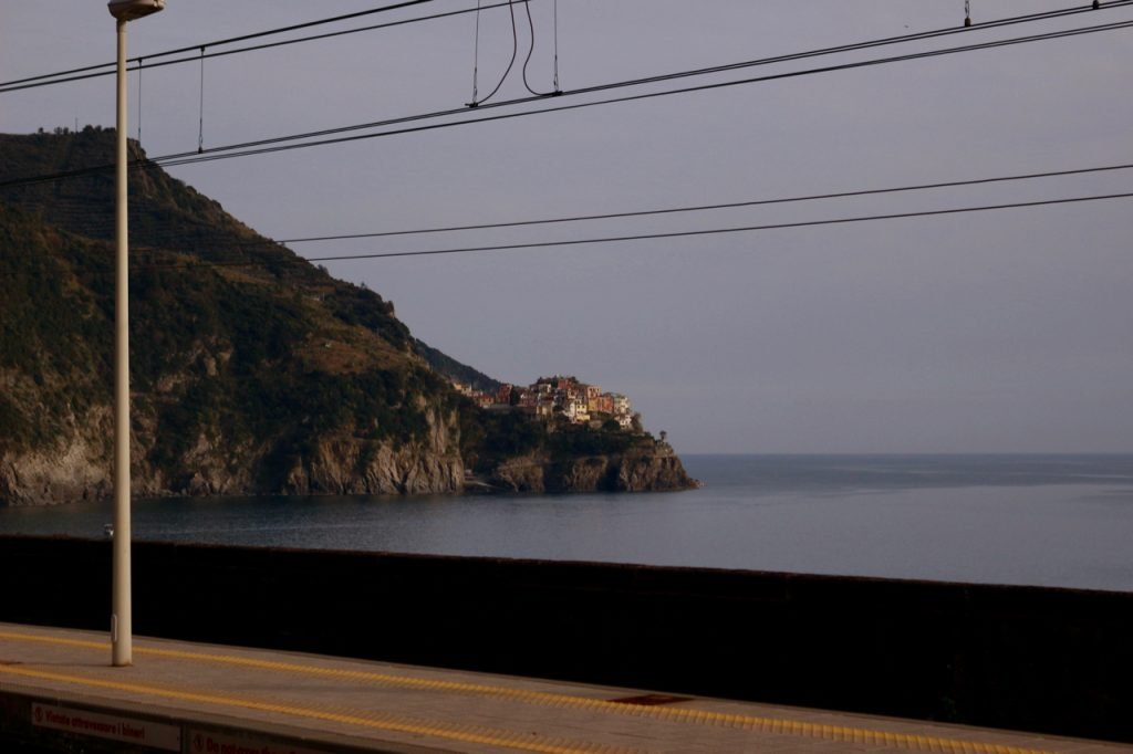 Looking toward the town of Manarola from the train station platform in Corniglia, Italy. ©KettiWilhelm2020