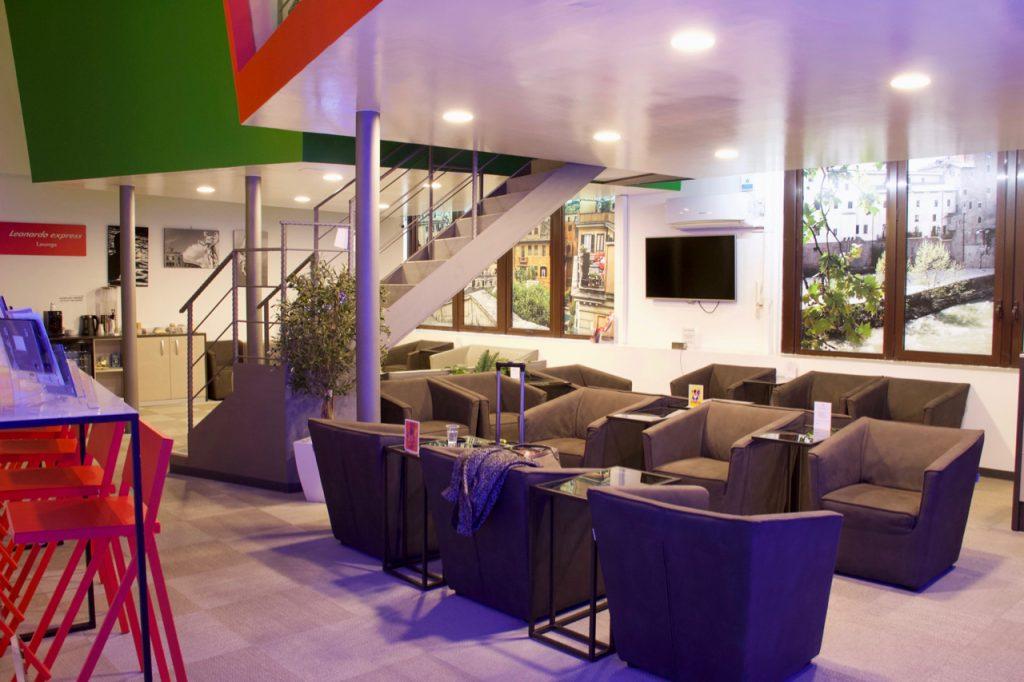 Comfortable seating inside ItaliaRail's lounge at Rome, Italy's Roma Termini Train Station. ©KettiWilhelm2020