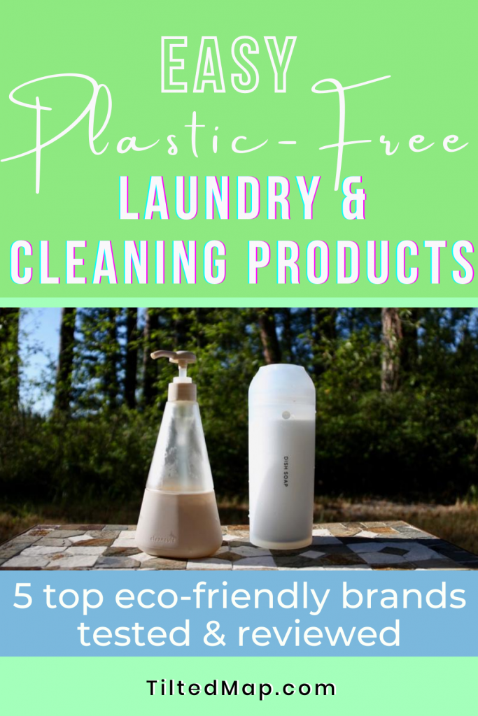 "Save this review to Pinterest: ""Easy, Plastic-free Laundry and Cleaning Products. 5 top eco-friendly brands reviewed and tested."" ©KettiWilhelm2020"