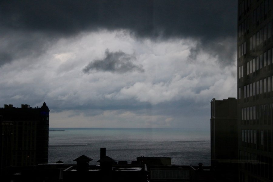 A dark, cloudy spring day seen from a Chicago high-rise apartment. ©KettiWilhelm2020