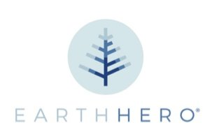The logo of Earth Hero, a sustainable shopping marketplace: a blue tree with Earth Hero written below.