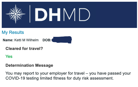 """A screenshot of the author's COVID-19 test result, required for travel to Hawaii, which simply says """"Cleared for travel? Yes."""" ©KettiWilhelm2020"""
