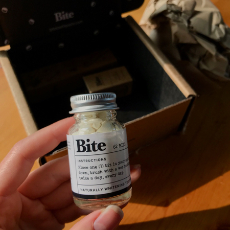 My travel-size bottle of Bite toothpaste tablets, reviewed here. ©KettiWilhelm2021