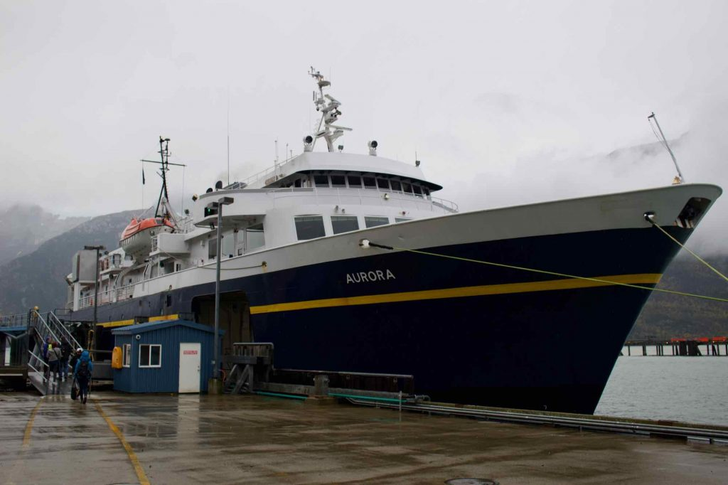 The ferry we took to Juneau, Alaska, docked in Skagway under the rain. ©KettiWilhelm2021