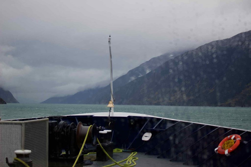 The rainy view from the front of the ferry, as it leaves Skagway on our trip to Juneau, Alaska. ©KettiWilhelm2021