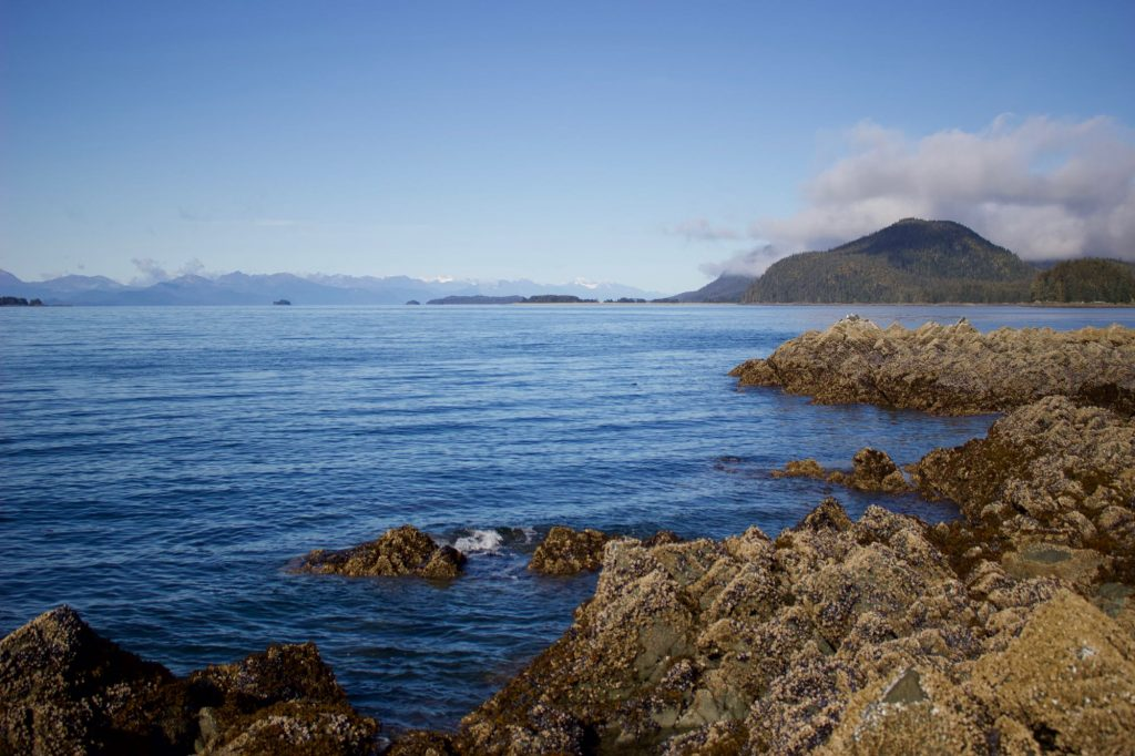 A pristine view of the water, mountains, and sunshine from a tidal island near Juneau. ©KettiWilhelm2021
