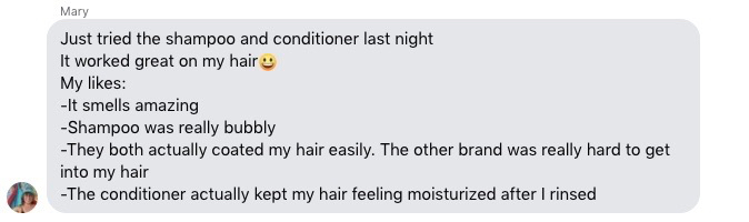 A message from my cousin detailing what she likes about the Earthling Co. shampoo and conditioner bars. ©KettiWilhelm2021