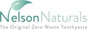 Logo for Nelson Naturals, maker of Crush & Brush toothpaste tablets. Discount code here for the brand!