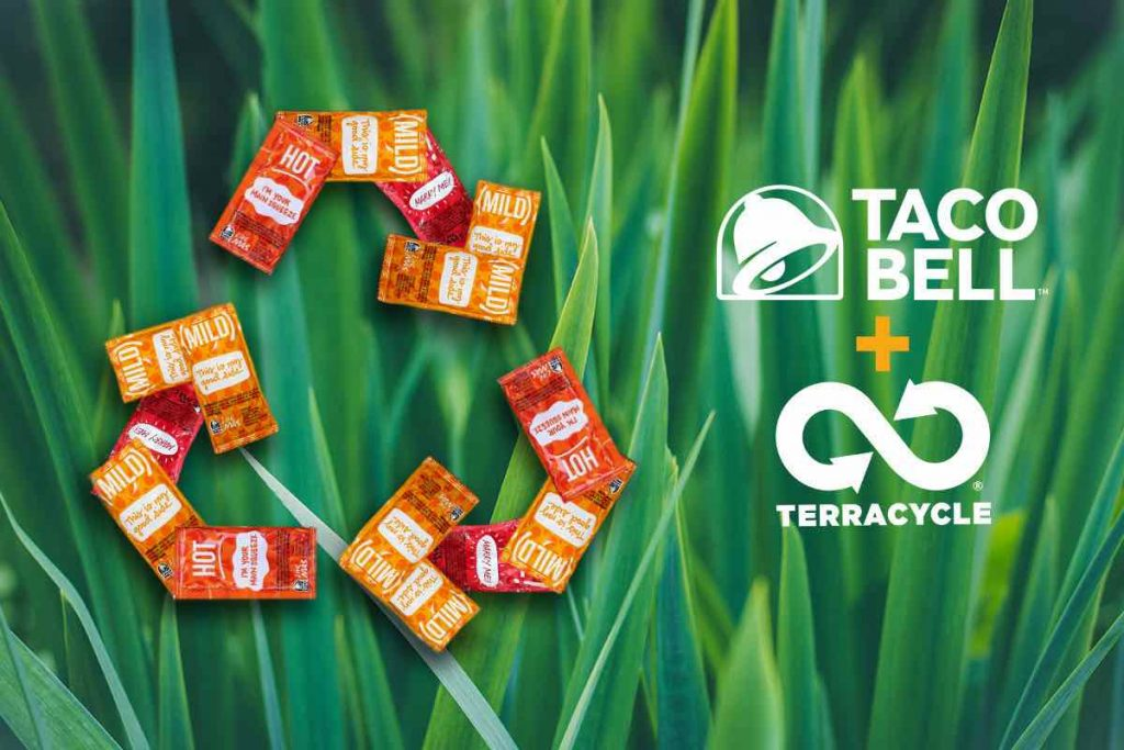 Promotional image of TerraCycle's upcoming program to recycle Taco Bell hot sauce packets.