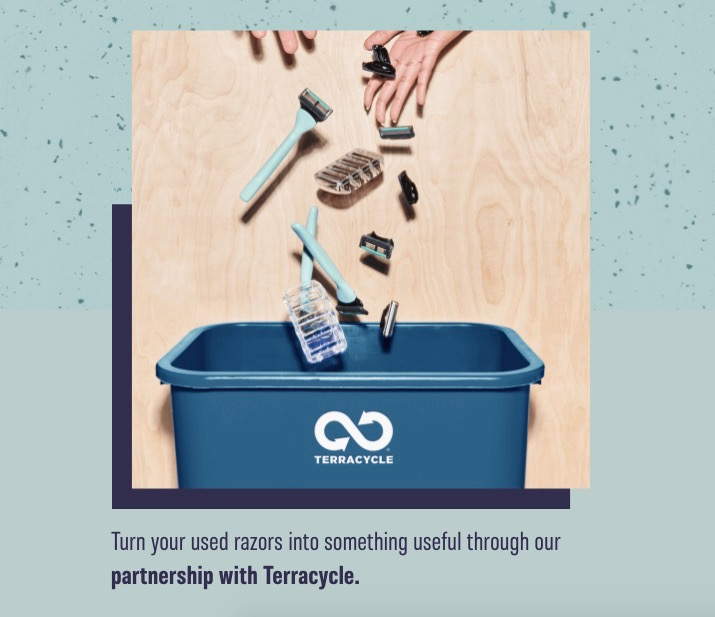 """Gillette's offering of disposable razors that are marketed as """"sustainable"""" (at least partly greenwashing) largely due to their TerraCycle recycling program."""