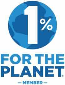 """The business member logo for 1% For The Planet: The words written in two shades of blue, with """"1%"""" in front of a blue globe icon."""