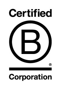 The logo for Certified B Corps –businesses that meet the highest standards of social and environmental responsibility: A white background with simple black words.