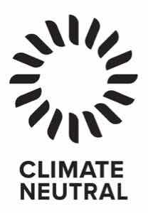 The logo for Climate Neutral, a black circular design resembling a wind turbine.