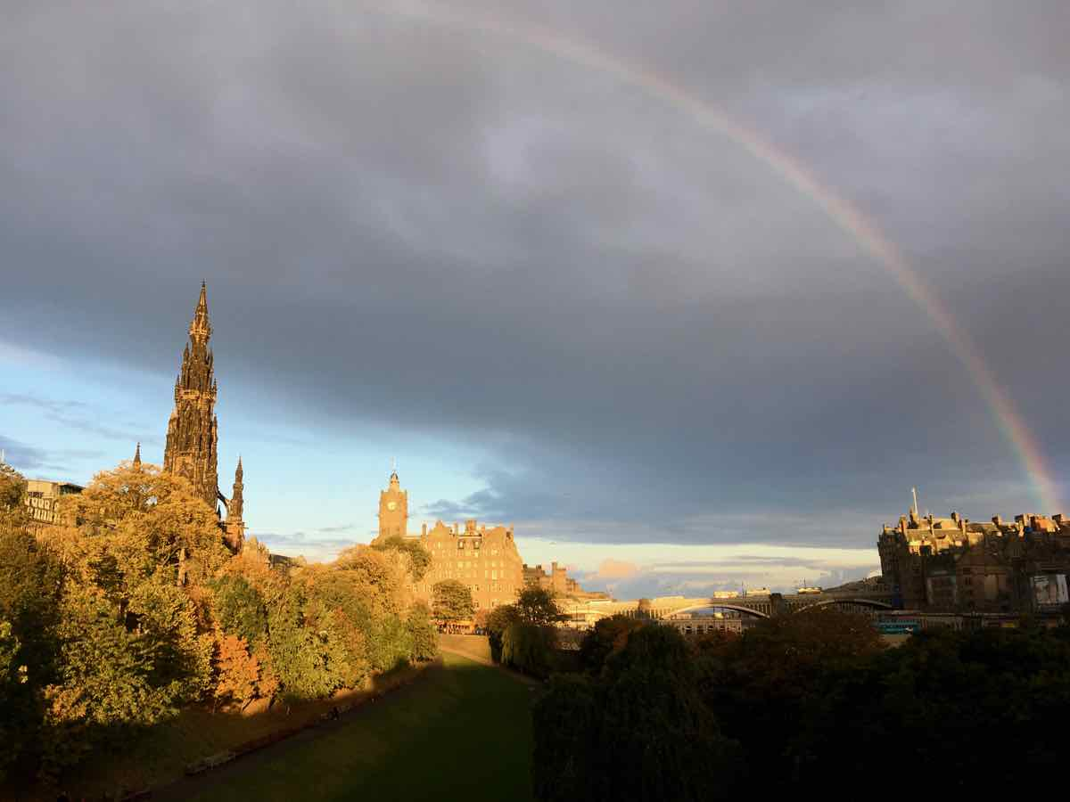 A rainbow in a stormy sky of Edinburgh, Scotland, near where the Glasgow Declaration for climate action in tourism will be announced at COP26 in Glasgow. ©KettiWilhelm2021